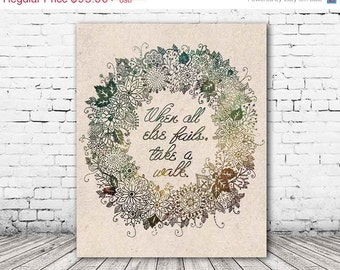 ON SALE 20% OFF Take A Walk - Stretched Canvas print, inspirational quote on canvas, wall art, typographic print, canvas art, floral, canvas