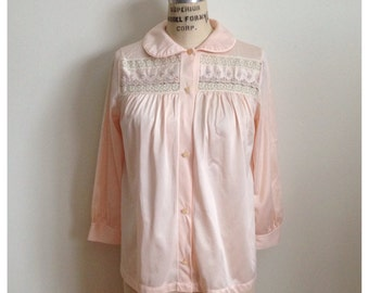 Vintage pink embroidered pyjama top/blouse