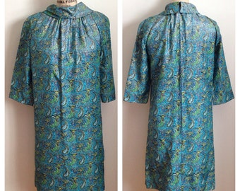 Vintage 1960s teal turquoise paisley print dress