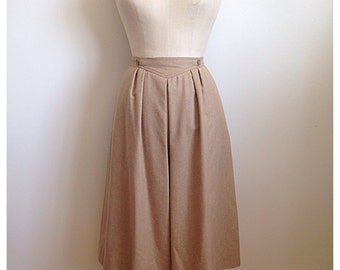 Vintage 1970s MISTER LEONARD tan wool pleated skirt