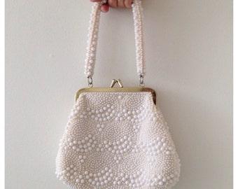 Vintage white beaded purse