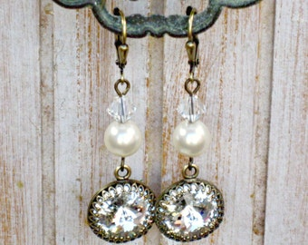 BRIDESMAID and BRIDAL EARRINGS, Antique Brass with Leverback Ear Wires, Clear Swarovski Crystals and White or Ivory Pearls