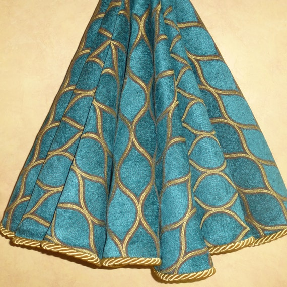 Gorgeous teal high end christmas tree skirt by cbsinteriors
