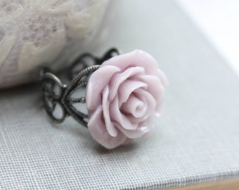 Mauve Rose Ring Light Purple Flower Ring Antique Silver Lace Filigree Romantic Floral Statement Jewelry Bridemaids Gift Stocking Stuffer