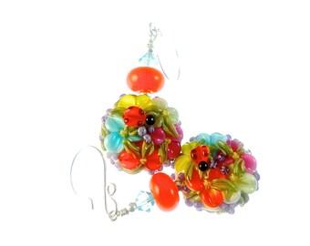 Floral Lampwork Earrings, Colorful Orange Drop Earrings, Handmade Unique Earrings, Lampwork Jewelry, Glass Bead Jewelry, Beadwork Earrings