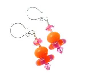 Handmade Lampwork Earrings, Handmade Glass Bead Earrings, Orange Fuchsia Pink Earrings, Lampwork Jewelry, Beadwork Earrings, Drop Earrings