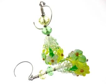 Lampwork Earrings, Yellow White Green Flower Cone Earrings, Glass Bead Earrings, Dangle Drop Earrings, Beadwork Earrings, Lampwork Jewelry