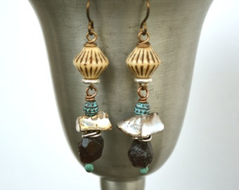 Raw Garnet Nugget Earrings, Rough Stone Earrings, Porcelain Scrunchy Nugget and Retro-Look Glass Bead Earrings