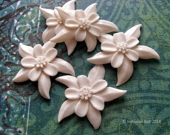 Aquilegia - Columbine Flower Carved Bone Cabochon