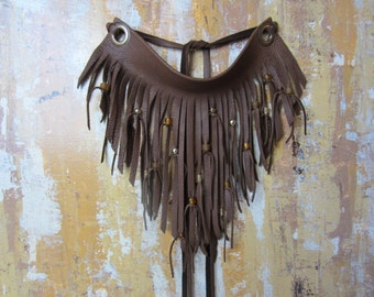 Leather Fringe Beaded Bib Necklace Brown Leather Neck Cuff Bohemian Jewelry
