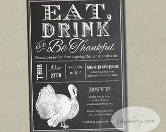 Chalkboard Thanksgiving Invitation | Turkey, Eat Drink and Be Thankful, Black and White, Dinner Party, Thanksgiving Party | INSTANT DOWLOAD
