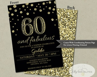 60 and Fabulous Glitter Confetti Birthday Invitation | INSTANT DOWNLOAD | Sixty, black and gold, golden birthday, 60th Birthday