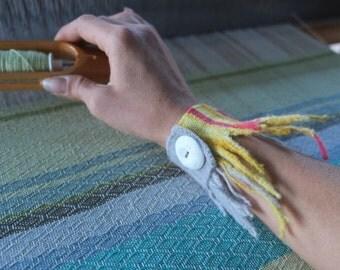 Bright Flame Cuff - Handwoven Sculptural Merino Felt & Fiber Art Bracelet