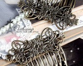 Wholesale Antique bronze plated  Filigree hair comb Setting NICKEL FREE(COMBSS-21)