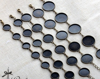 2Pcs High quality Antique Bronze Bracelet With 12mm / 14mm / 16mm / 18mm / 20mm Round cabochon Setting  (CBS)