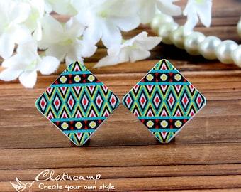 40% off- 10PCS Diamond Shape Handmade Photo Wood Cut Cabochon to make Rings,Earrings,Necklaces, Bracelets-(WFH-59)-(Back White)