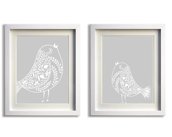 Nursery Girl Birds Flowers Kids Room Art Grey more colors available set of 2