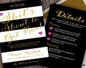 Hand Lettered Calligraphy Glitter and Stripes Bachelorette Invitation Card by Luckyladypaper - CUSTOM CARD ORDER