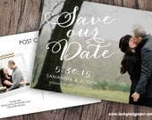 Customized PDF file: Hand Lettered Calligraphy Save the Date Postcard by Luckyladypaper - DIY printing