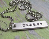 DATE Mens Necklace ONE Tag Hand Stamped Rectangle Bar Jewelry Charm Aluminum Personalized Stainless Steel Chain Name Initials Anniversary