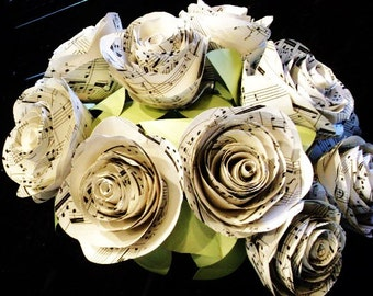 The Stephanie vintage sheet music hymnal cabbage rose Spiral  paper flowers bridal bouquet toss bridesmaid recycled for weddings