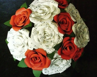 vintage sheet music hymnal roses and red cardstock roses bouquet for weddings, toss, rehearsal, Christmas, Valentines