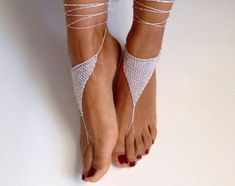 white Barefoot Sandals, bead, barefoot sandles, wedding, Bikini, Bridal Sandals, Bridal Jewelry, shoes Women, Beach, READY TO SHIP