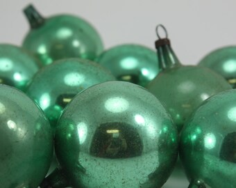 Vintage Christmas Ornaments Mercury Glass Czech Bohemian Hand Blown Aqua Teal - 12 Pieces