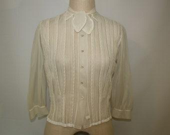 Vintage Nylon Tuxedo Front Blouse 1940's Off White Rhinestone Buttons