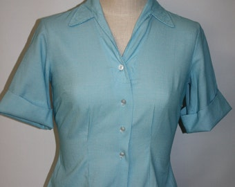 Vintage 1950's Aqua White Checkered  Blouse