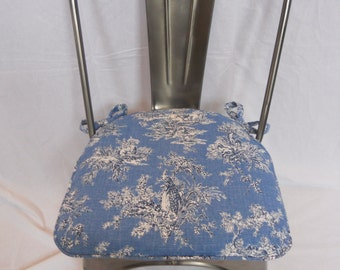 """Made to fit Chair Pad - 2 inch foam - Made To Order Chair Pad (Cotton)  - """"Sunnyfield Toile Delft."""" 22 L X 22 W or within"""