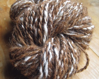 handspun alpaca yarn, worsted / aran, 70g, proceeds to charity 72 yards/ 66 meters,  thick and thin, worsted / aran weight,