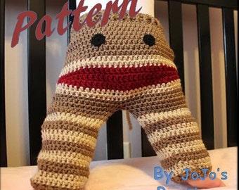 PATTERN - Crochet Monkey Toddler Pants PATTERN  - Sock Monkey Pants - PDF Sock Monkey Pants - Crochet Monkey Pants - by JoJo's Bootique