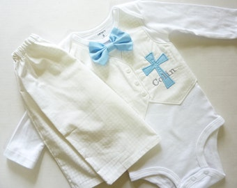 Personalized White Houndstooth Baptism, Christening, and Dedication Outfit with Matching Removable Bow Tie