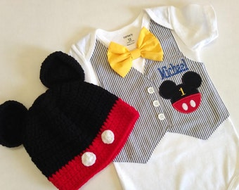 Birthday Mickey Mouse Tuxedo Bodysuit Vest with Matching Removable Bow Tie (Mickey Crochet Hat Not Included)