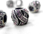 Lavender Crystal Rhinestone Wrapped Silver Spacer large hole bead, 10mm x 10mm diameter, hole measures 5mm across, package of 5