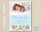 "Custom Photo Christmas Cards - Printable Holiday Card - Personalized Photo Christmas Card Design - Size 5x7"" 4x6"""