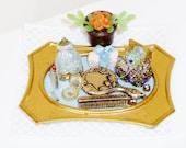 Miniature dresser tray dollhouse mirror comb jewelry box lipstick ornate gift box