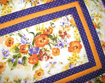 Floral Table Runner, Fall, Spring, Summer, watercolor  quilted