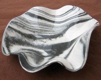 Ceramics and Pottery Small Ceramic Bowl  - Zebra Striped Black and White Marbled Stoneware - Handmade Bowl