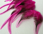 Bright Pink Craft Feathers Supplies Crafting Fly Fishing Badger Pattern Rooster Saddle Hackle Pink Earring Feathers QTY 12 | 3-5in