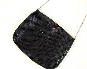 80s Vintage Black Evening Bag Purse Black Metallic Metal// Vintage Black Mesh Metallic Purse Evening Bag
