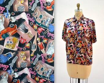 90s Nicole Miller Silk BARBIE Shirt Size Small Medium// Vintage Barbie Print Silk Shirt by Nicole Miller mens womens