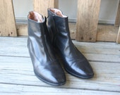 Vintage Black Leather Booties by Etienne Aigner Size 7.5