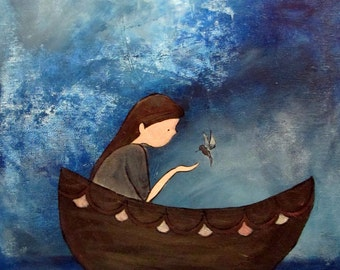 Kids Wall Art Print. Whimsical Artwork, Nursery Print, Girl and Boat