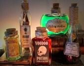5 Potion Bottles Halloween Decoration Prop #L3 Voodoo, Belladonna Flying Potion, Mugwort, Dead Roses....