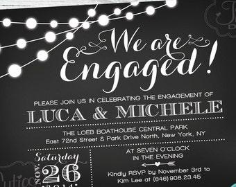 Engagement Party Invitation - Chalkboard - Black - Engagement Invitation