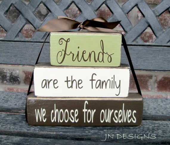 Inspirational Quotes On Wood: Friends Stacker Wood Blocks-inspirational Quote By Jjnewton