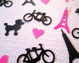 Paris Confetti Eiffel Tower Tandem Bike Poodle Heart Die Cut Confetti Table Sprinkles Paris Theme Party Decor