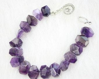 Amethyst Purple jagged cut Gemstone and Spiral Clasp Bracelet Purple amethyst bracelet purple gemstone bracelets handmade jewelry B1597